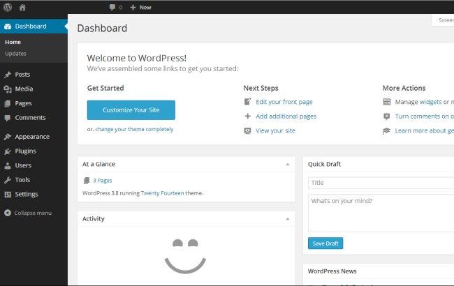 WordPress 3.8 Parker standaard kleurenschema